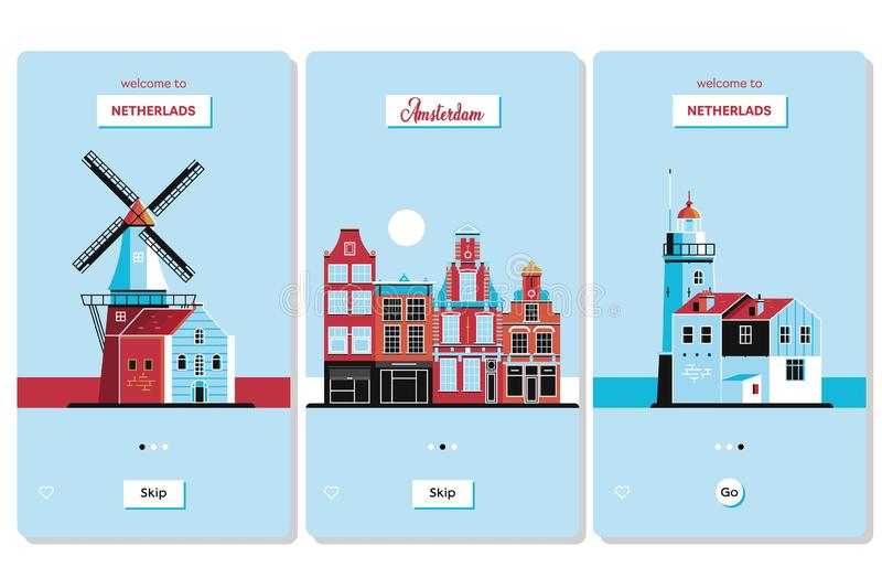 Welcome to Netherlands greeting souvenir cards, print or poster design template. vector illustration