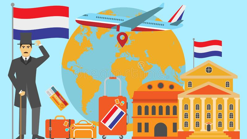 Welcome to Netherlands postcard. Travel and safari concept of Europe world map vector illustration with national flag. Welcome background royalty free illustration