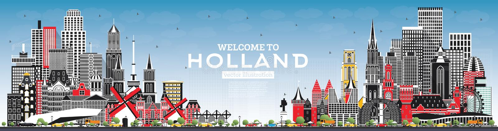 Welcome to Netherlands Skyline with Gray Buildings and Blue Sky. Vector Illustration. Tourism Concept with Historic Architecture. Netherlands Cityscape with stock illustration