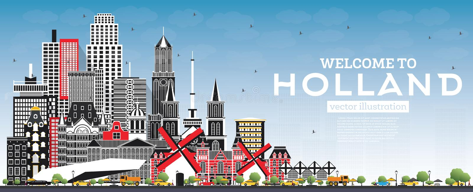 Welcome to Netherlands Skyline with Gray Buildings and Blue Sky. Vector Illustration. Tourism Concept with Historic Architecture. Netherlands Cityscape with vector illustration