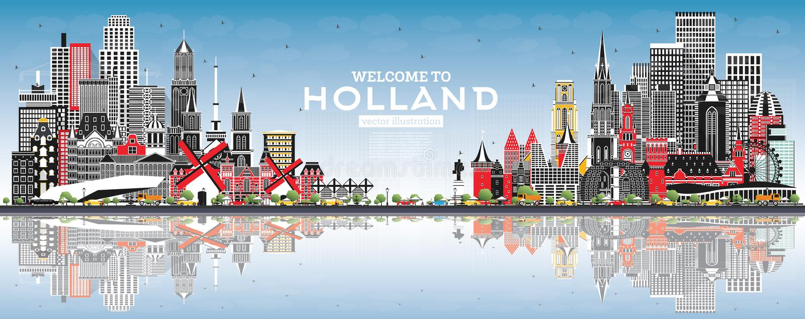 Welcome to Netherlands Skyline with Gray Buildings and Blue Sky. Vector Illustration. Tourism Concept with Historic Architecture. Cityscape with Landmarks stock illustration