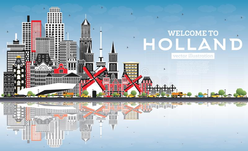 Welcome to Netherlands Skyline with Gray Buildings and Blue Sky. Vector Illustration. Tourism Concept with Historic Architecture. Cityscape with Landmarks royalty free illustration