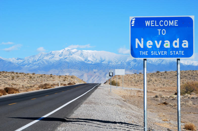 Welcome to Nevada Sign stock photo. Image of signs