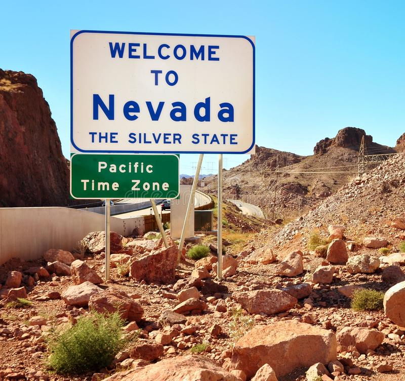 Welcome To Nevada Sign On The Border With Arizona. In