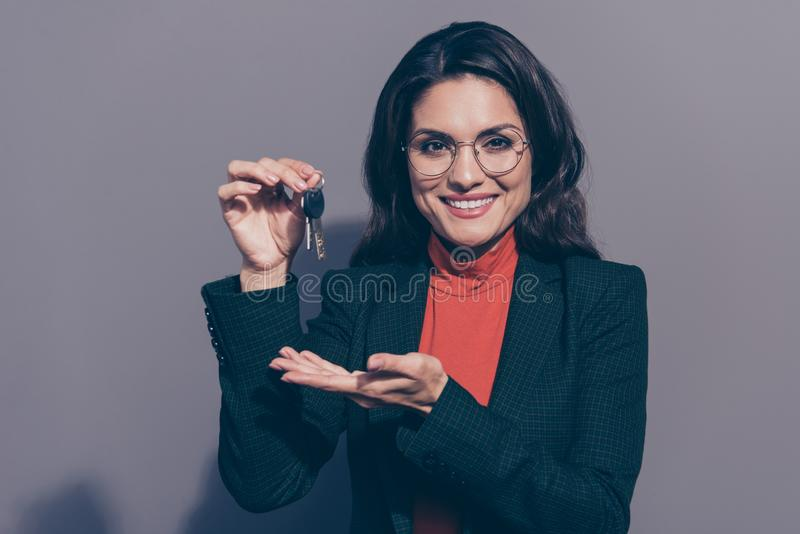 Welcome to new flat Portrait of her she nice lovely elegant chi stock images