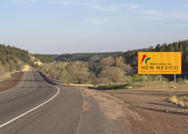 Welcome to New Mexico. A welcome sign at the New Mexico state line royalty free stock photo