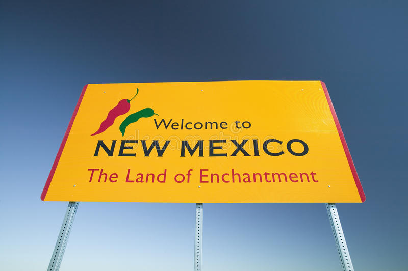 Welcome to New Mexico state sign, The Land of Enchantment royalty free stock photography