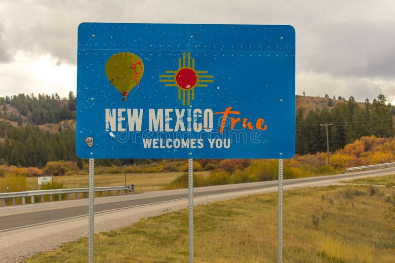 Welcome to New Mexico State Sign. OCT 10, 2018, USA - Welcome to New Mexico State Sign stock photo