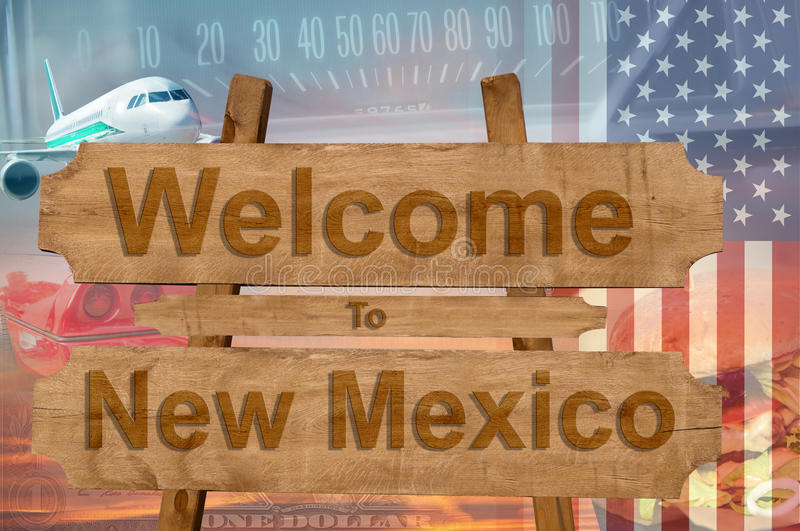 Welcome to New Mexico state in USA sign on wood, travell theme stock images