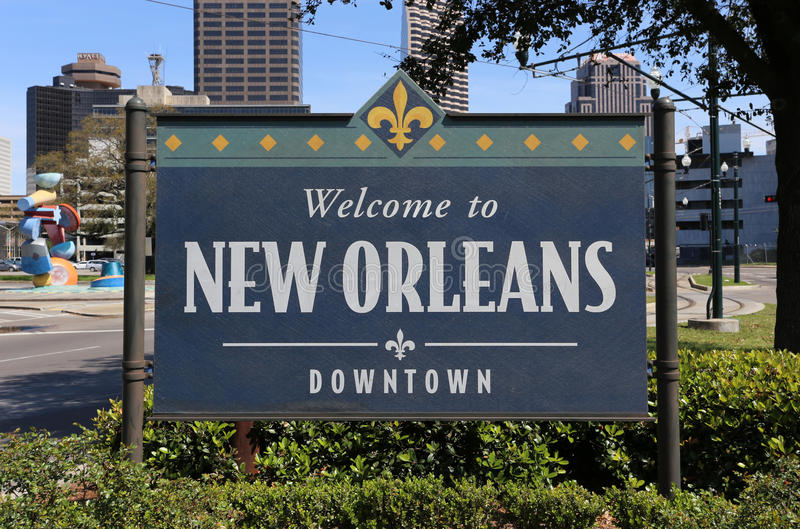 Welcome to New Orleans. New Orleans, LA, USA - March 28, 2015: A welcome sign near downtown New Orleans, Louisiana. Located on the banks of the Mississippi River