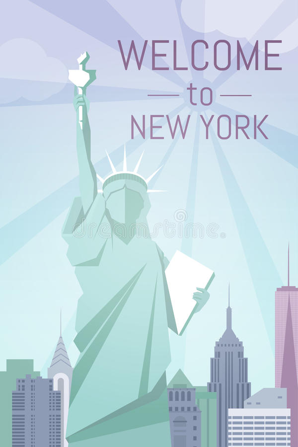 Welcome to New York poster flat design stock photos