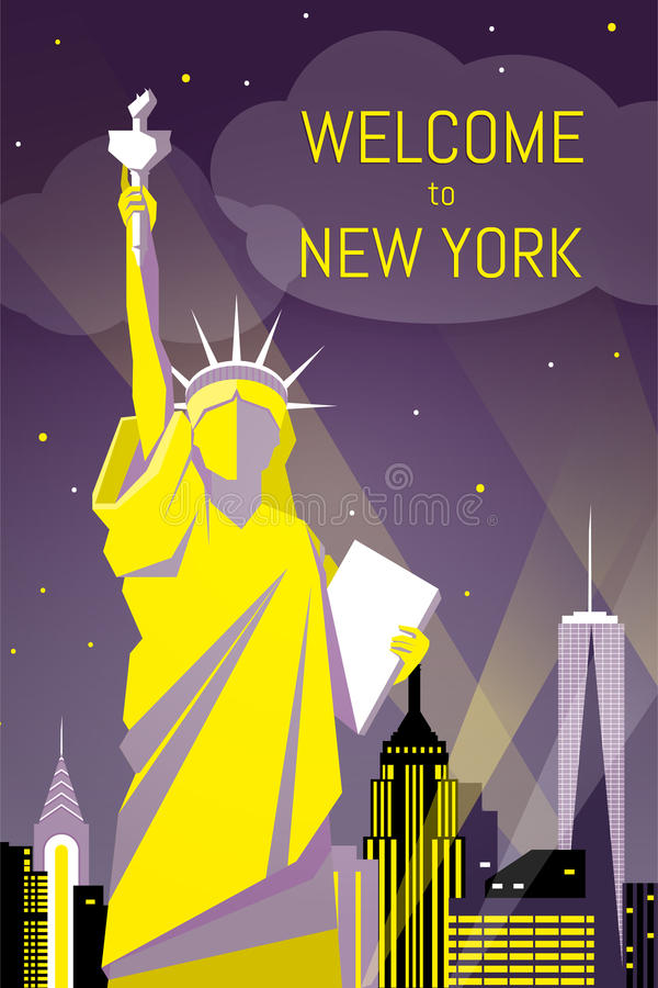 Welcome to New York poster flat night design royalty free stock photography