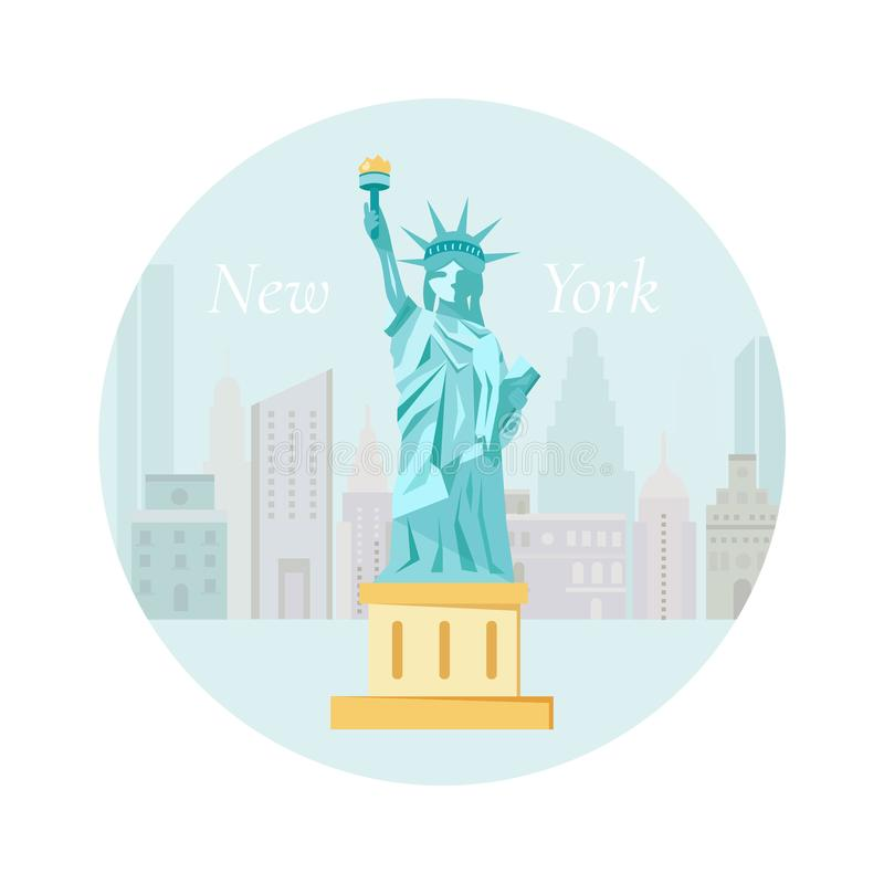 Welcome to New York poster with Statue of Liberty royalty free illustration