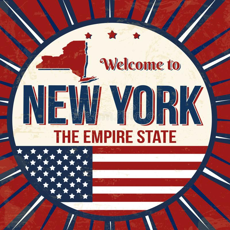 Welcome to New York vintage grunge poster stock illustration