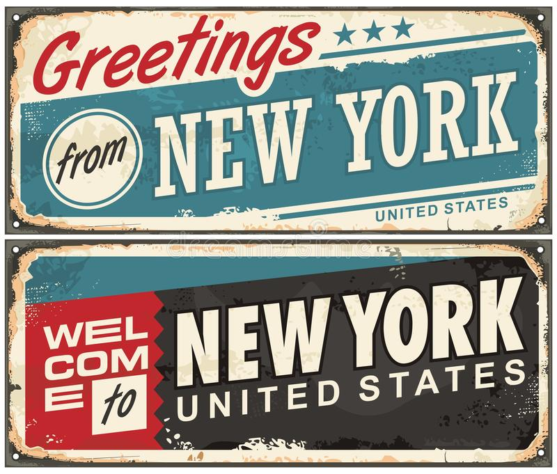 Welcome to New York vintage tin sign vector illustration