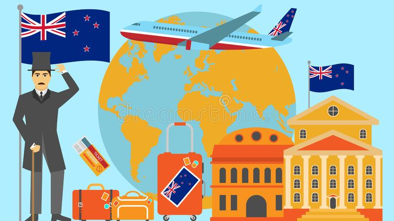 Welcome to New Zealand postcard. Travel and safari concept of Europe world map vector illustration with national flag. Welcome background vector illustration