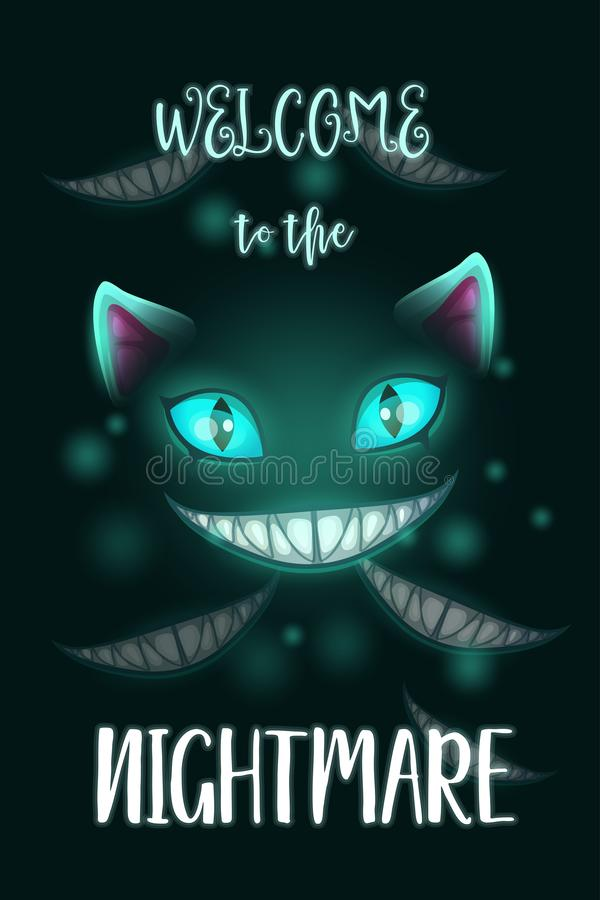 Welcome to the nightmare. Scary Halloween poster with creepy evil cat face. royalty free illustration