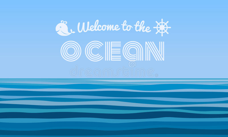 Welcome to the Ocean text on blue water waves abstract background vector design stock illustration