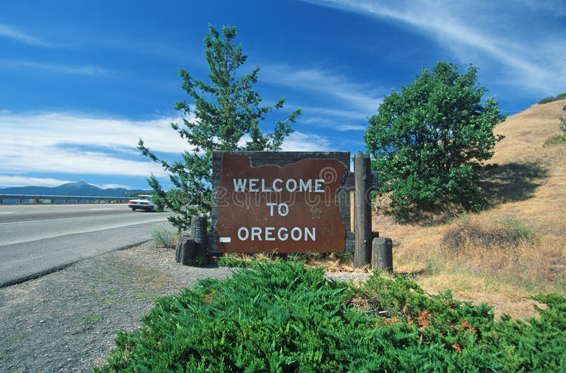 Welcome to Oregon Sign stock photos