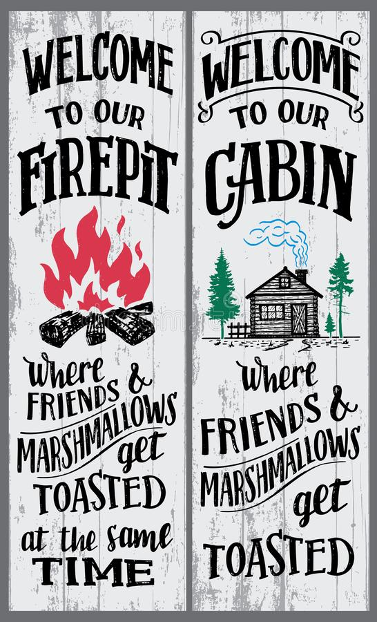 Welcome to our firepit and cabin sign. S set. Where friends and marshmallows get toasted. Hand-drawn typography vertical sign set for home decor or any events stock illustration