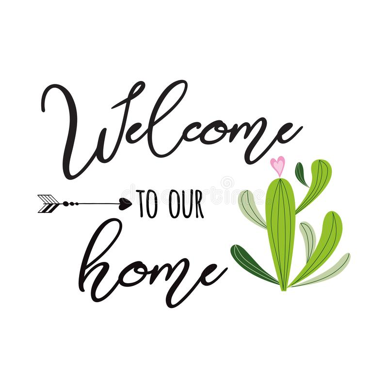 Welcome to our home vector sign Cute hand drawn Prickly cactus print with inspirational quote Home decor vector illustration