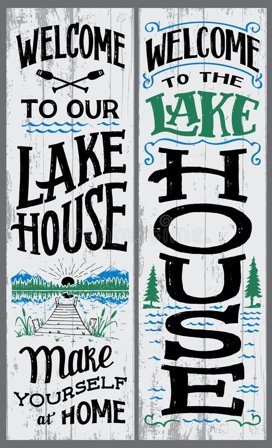 Welcome to our lake house sign. Welcome to our lake house, make yourself at home. Hand-drawn typography vertical sign set for home decor royalty free illustration