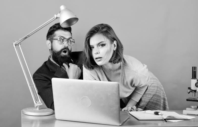 Welcome to our team. business couple at computer. woman and man work in office at laptop. businessman and assistant. Welcome to our team. business couple at stock photos