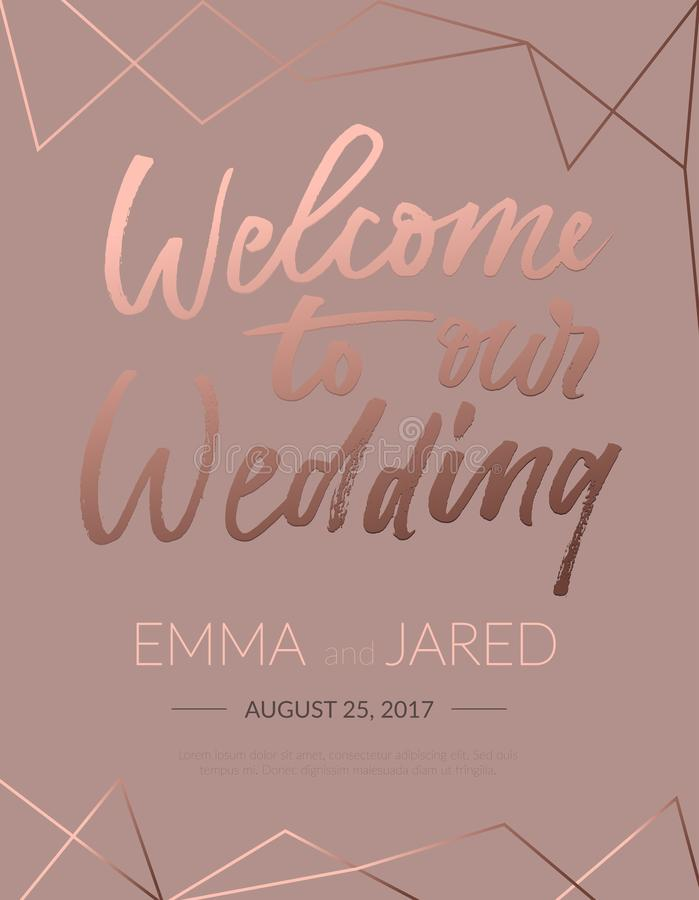 Welcome To Our Wedding Invitation With Lettering And Abstract Elements Elegant Rose Gold Calligraphy On Brown Background For Eng Stock Vector Illustration Of Graphic Greeting 114725690