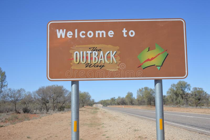 Welcome to the Outback way sign Northern Territory Australia royalty free stock image