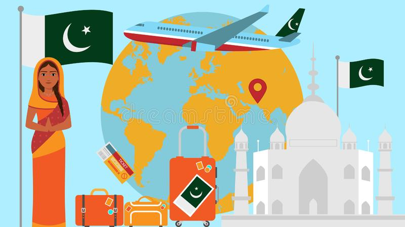 Welcome to Pakistan postcard. Travel and safari concept of Asia world map vector illustration with national flag. Welcome background royalty free illustration
