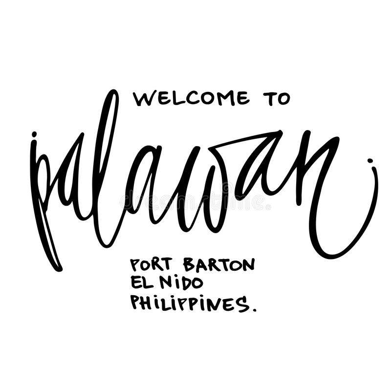 Welcome to Palawan hand lettering design for posters. Tropical paradise hand lettering design for posters, t-shirts, cards, invitations, stickers, banners Vector royalty free illustration