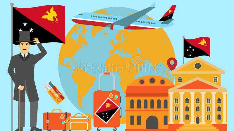 Welcome to Papua New Guinea postcard. Travel and safari concept of Europe world map vector illustration with national flag. Welcome background royalty free illustration