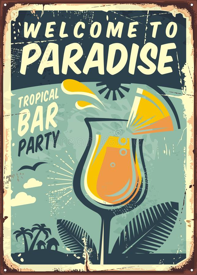 Free Welcome To Paradise Old Metal Sign Stock Images - 94143714