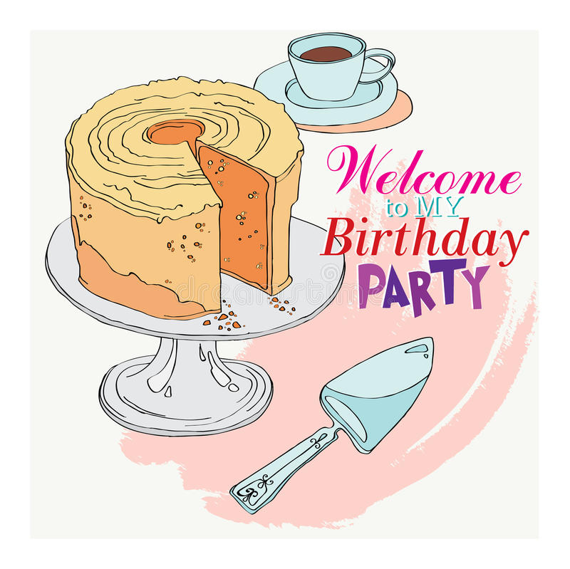 Welcome To The Party For My Birthday Stock Vector - Illustration of ...