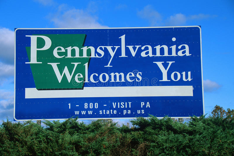 Welcome To Pennsylvania Sign Editorial Photography