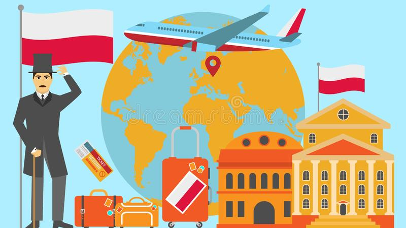 Welcome to Poland postcard. Travel and safari concept of Europe world map vector illustration with national flag. Welcome background royalty free illustration