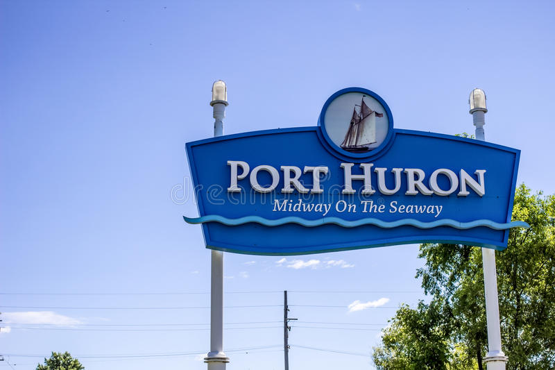 Welcome To Port Huron Michigan. Port Huron, Michigan, USA - August 1, 2015. Welcome sign at the city limits of Port Huron, Michigan. Located in Michigan, it is a stock photography