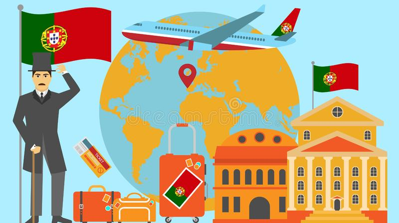 Welcome to Portugal postcard. Travel and safari concept of Europe world map vector illustration with national flag. Welcome background stock illustration