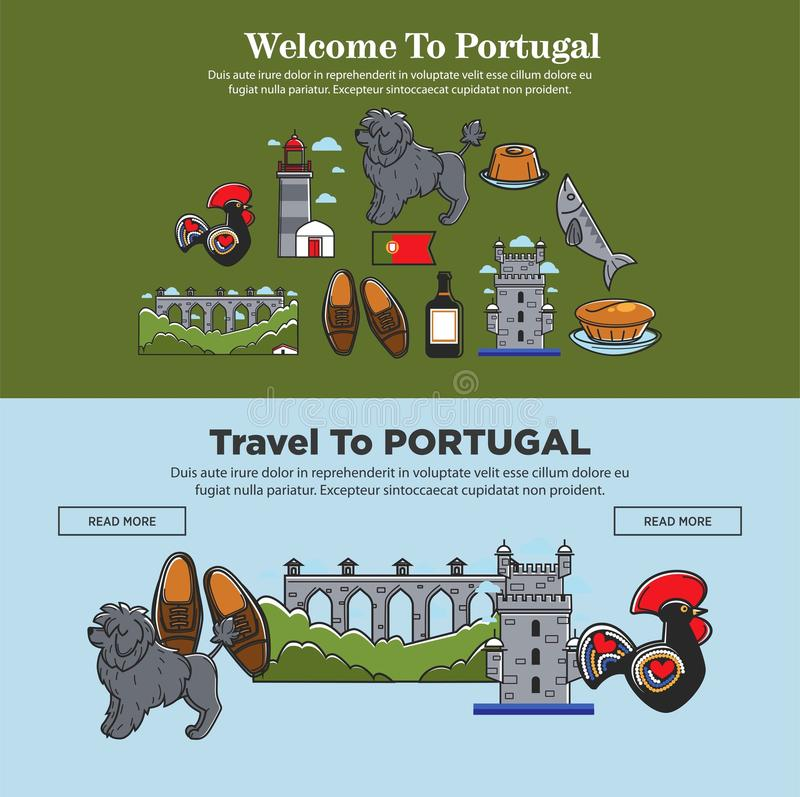 Welcome to Portugal vector travel banners. Welcome to Portugal travel banners of tourism symbols and landmarks. Vector Portugal flag, Lisbon rooster or dog vector illustration