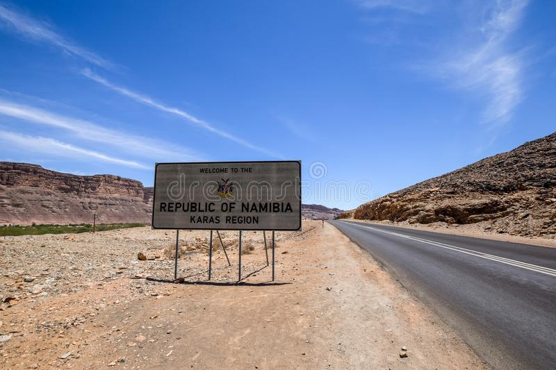 `Welcome to the Republic of Namibia`, Karas Region, road sign right after the southern Namibian border at Vioolsdrift. royalty free stock photo