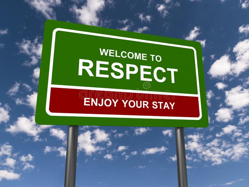 Welcome to respect sign. A green welcome to respect sign with the sky in the background stock photography