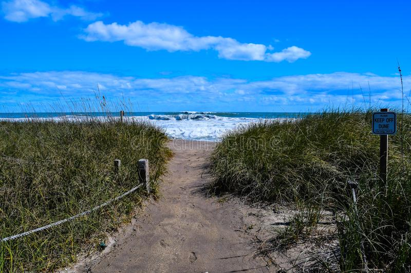 Welcome to the Rolling Waves. A pathway to A Florida beach with rolling, breaking waves in the background and sand dune vegetation in the foreground royalty free stock images