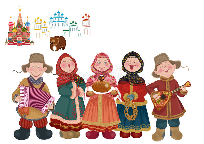 Welcome to Russia. Vector cartoon people in traditional costume with musical instruments (balalaika and accordion) are welcome guests with a centuries-old vector illustration