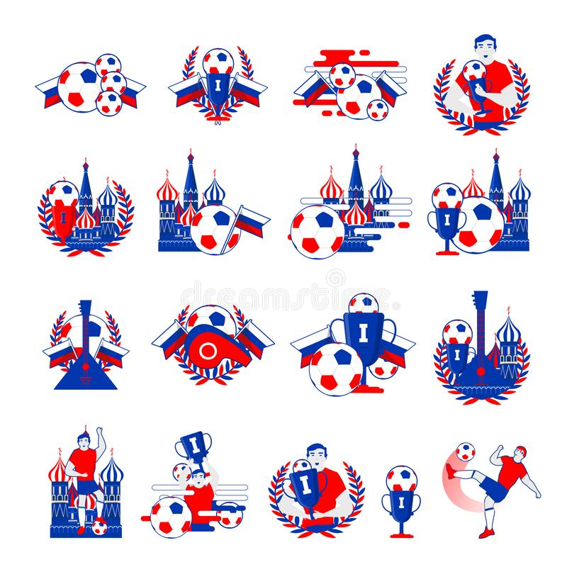 Welcome to Russia football badges stock photography