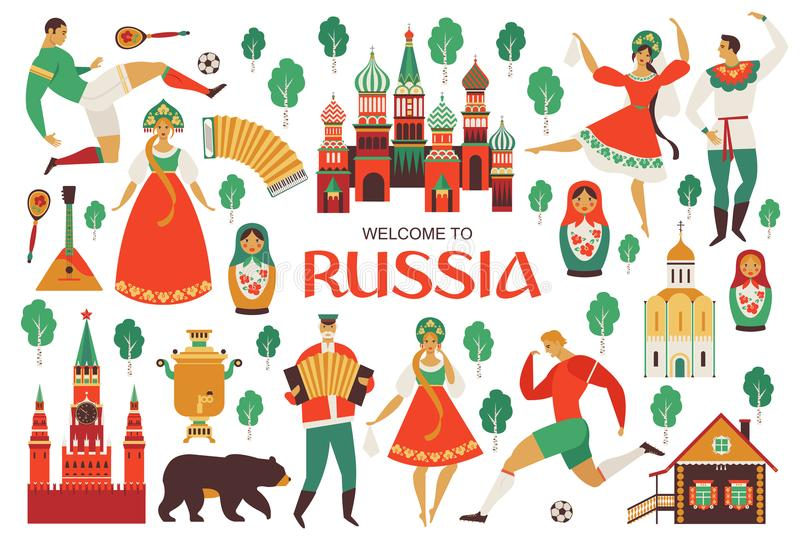 Welcome to Russia. Russian sights and folk art. Football championship in 2018. Flat design Vector illustration. Welcome to Russia. Russian sights and folk art royalty free illustration