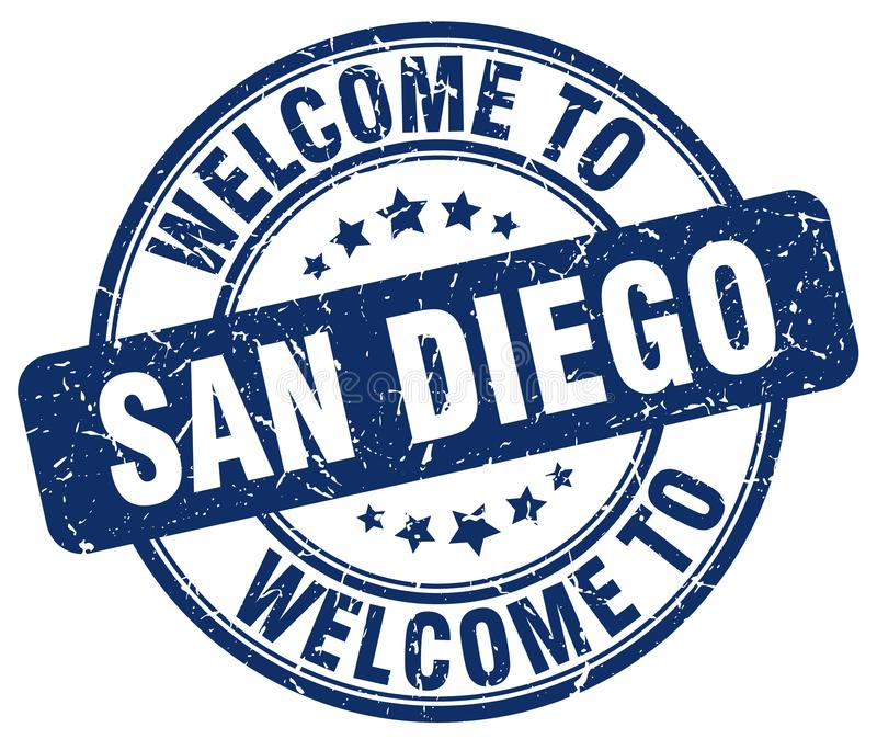 welcome to San Diego stamp stock illustration
