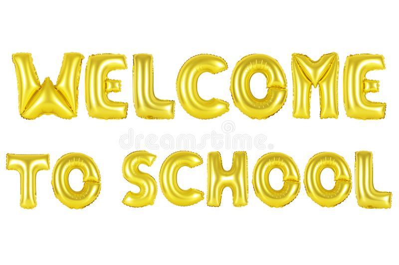 Welcome to school, gold color royalty free stock image