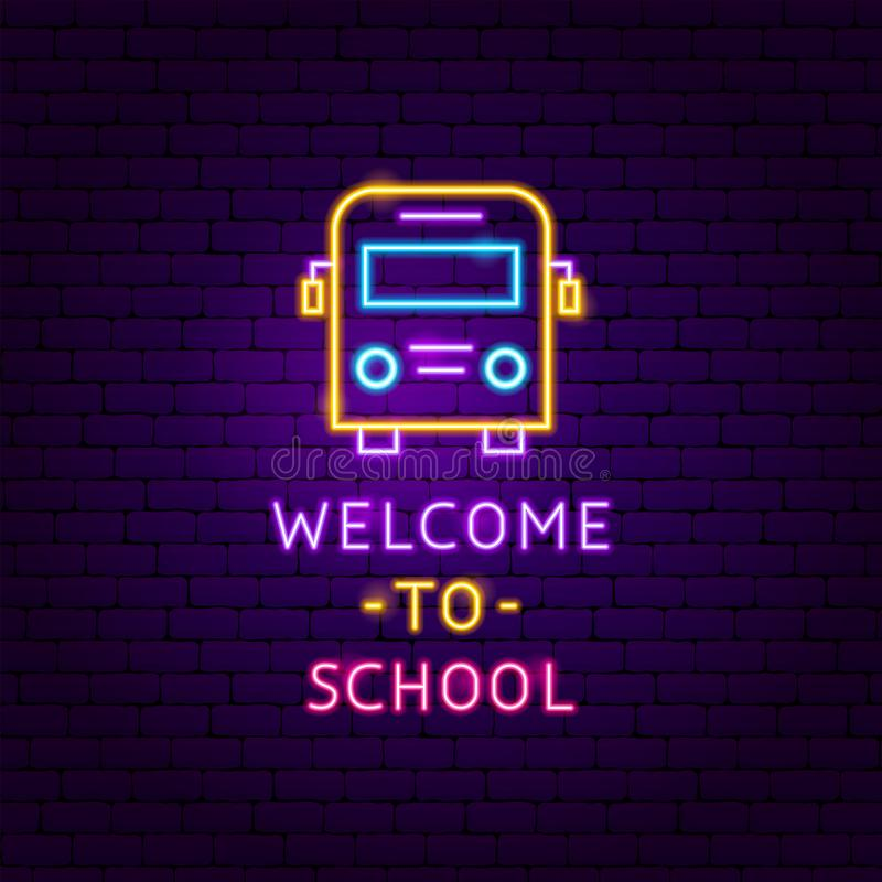 Welcome to School Neon Label royalty free illustration