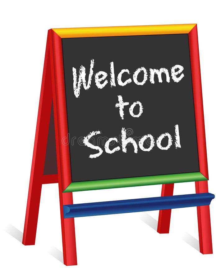 Welcome to School Sign, Childrens Chalkboard Easel stock illustration