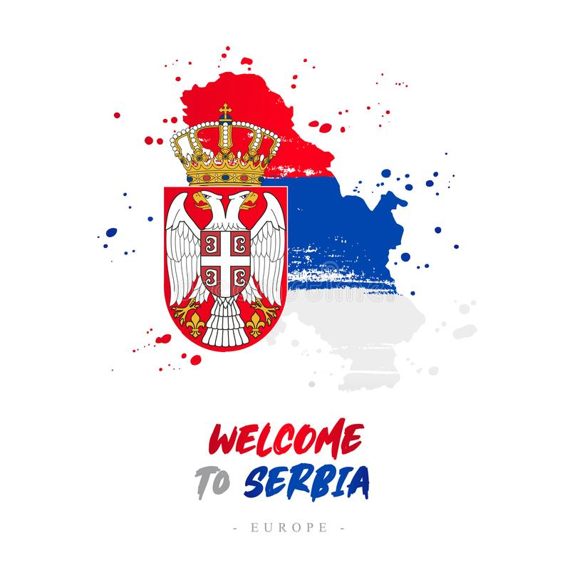 Welcome to Serbia. Flag and map of the country royalty free illustration